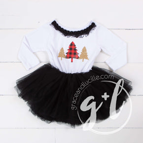 Buffalo check red and black Christmas trees with Black Tutu, White Long Sleeves - Grace and Lucille
