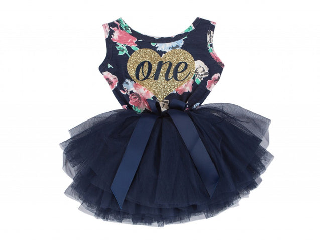 Navy Floral Heart of Gold Birthday Dress - (3rd Birthday Dress - 3rd Birthday Outfit)