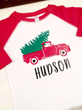 Christmas Tree in Vintage Truck Raglan Tee Shirt, Personalized with Name,White and Red - Grace and Lucille