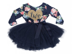 Navy Floral Heart of Gold Birthday Dress - (2nd Birthday Dress - 2nd Birthday Outfit)