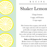 Shaker Lemon Pie Plate with Recipe Card