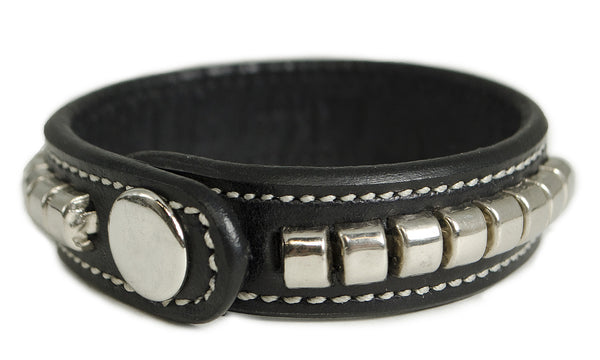 *Engrave-Or-Not * Black Leather Bracelet With Silver Clincher