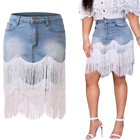 FRINGE ME DENIM SKIRT