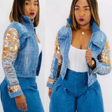 INSTANT SEQUINS DENIM JACKET