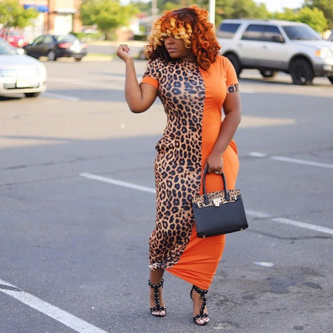 ORANGE LEOPARD PRINT DRESS (S-XXXL)