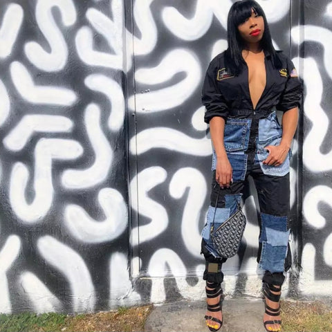 HONOR DENIM PATCH JUMPSUIT
