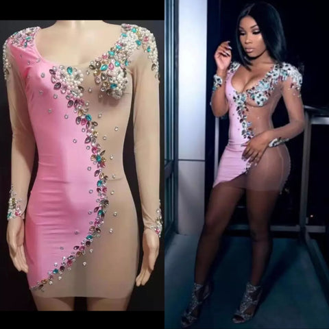 CUSTOM PINK JEWELS DRESS