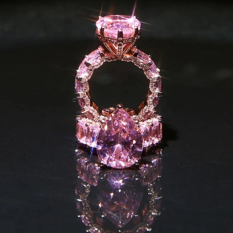 Big Pink Pear Shape Accent Stone Ring