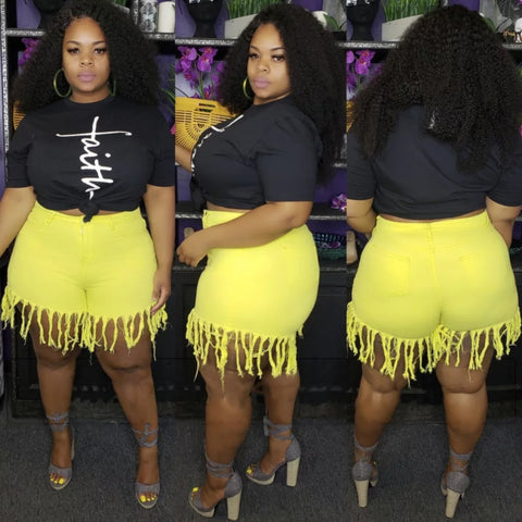YELLOW FRINGE DENIM PLUS SIZE SHORTS