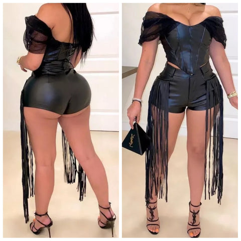 DRAMATIC PU LEATHER 2 PIECE
