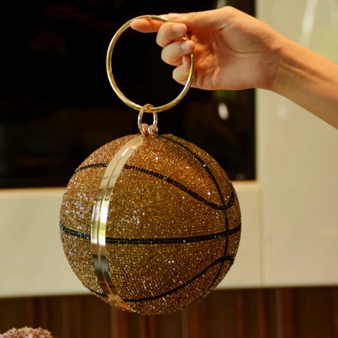 GOLD GLITZ BASKETBALL CLUTCH