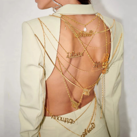Backless Metal Text Chain Blazer