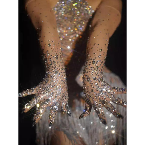 Custom Rhinestone Gloves