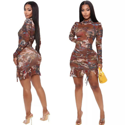 BROWN MESH DRESS