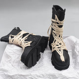 New British Style Thick-soled High-top Lace-up