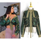 ARMY GREEN SEQUINS JACKET
