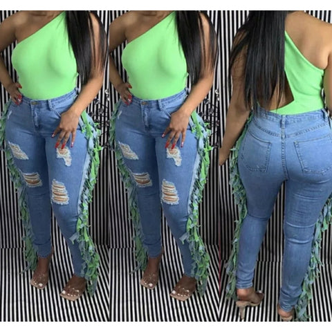 GREEN FRINGE DENIM