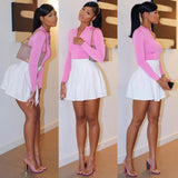 Solid Full Sleeve Top and Pleated Skirt Set