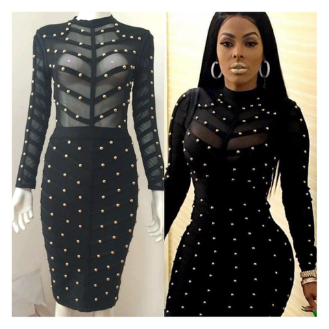 STUDDED BANDAGE DRESS (long sleeve)