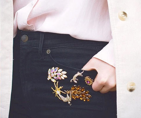 Vintage Brooches on jeans