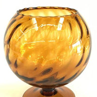 amber swirled ribbed compote