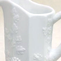 milk glass panel glass pitcher