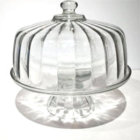 wide ribbed glass cake plate