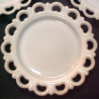 scalloped white milk glass plate