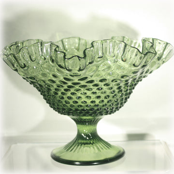 Large Fenton Glass Colonial Green Hobnail Ruffled Footed Bowl 1962