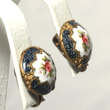 Victorian Style Brass and Blue Enamel Button Earrings