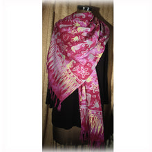 Printed Fuschia Pink Fringed Cotton Scarf
