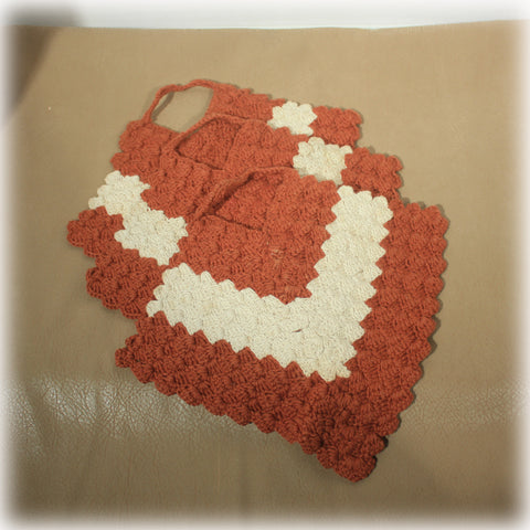 Burnt Orange Brown Cream Vintage Crochet Potholders