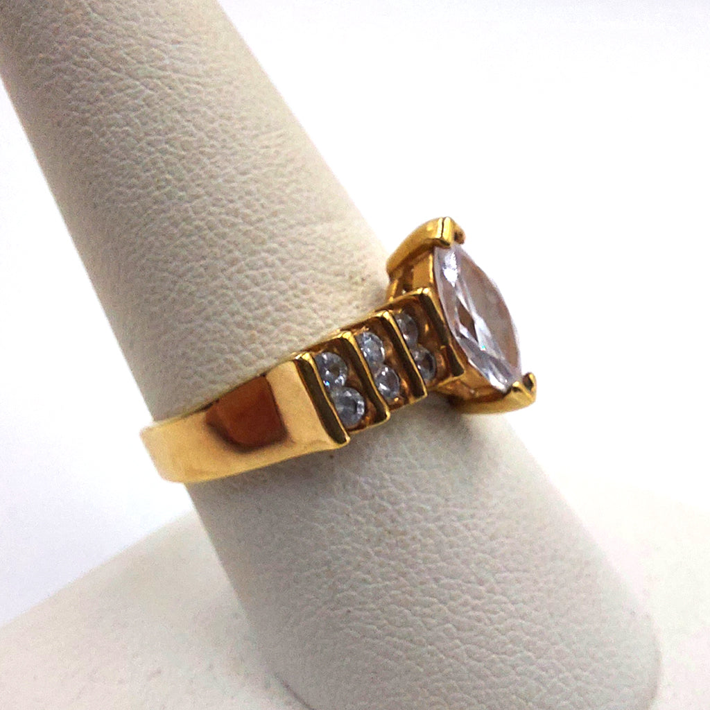 Details about  /Ladies Gold Alloy Rhinestone Turtle Cocktail Adjustable Ring Head Moves