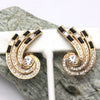 Gold Swirl Earrings Set With Black and White Rhinestones, Formal Wear Jewelry, Dressup, Elegance, Glamour Clip On Earrings