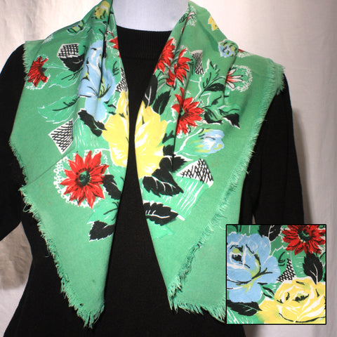 Green Cotton Fringed Scarf Floral Vintage