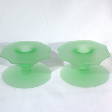 Mid Century Frosted Green Candle Holders