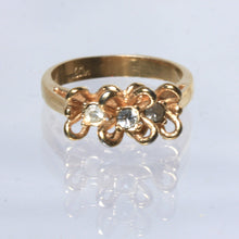 Size Eight Park Lane Gold Tone Ring, Rhinestone Flowers, Petite Romantic