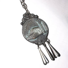 Greek Coin Pendant Necklace, Greek Revival Jewelry, Brutalist, Dangles
