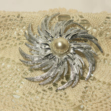 Large Silver Pinwheel Brooch with Faux Pearl by Sarah Coventry