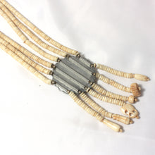 Tribal Shell Bead Necklace, Vintage Tan Sautoir Necklace