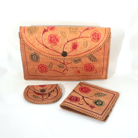 Stamped Tooled Leather Cluth Handbag Wallet Coin Purse Vintage