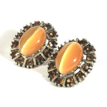 Faux Tigers Eye and Topaz Crystal Pierced Earrings