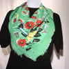 Green Floral Scarf, Cotton, Fashion Scarf, Vintage Scarf, Square Scarf, Fashion Accessories, Womens Fashion Accessory