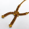 Amber Crystal Rhinestone Mid Century Necklace and Earrings