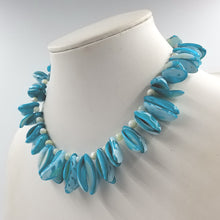 Dyed Aqua Blue and White Shell Fringe Necklace