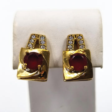 Gold Plated Sterling Silver Vintage Pierced Earrings