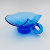 Vintage Cobalt Blue Blown Glass Handled Nappy