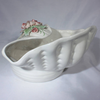 Vintage Capo di monte White Shell Planter with Dusty Pink Rose, Cottage Chic Decor