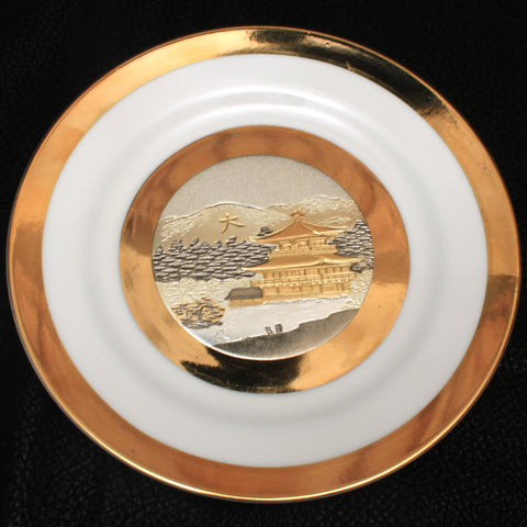 art of chokin gilded decorator plate pin tray silver gold porcelain