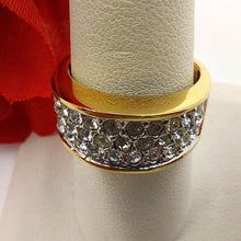 Edco Dinner Ring Pave Rhinestones Gold Tone